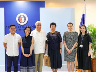 First cohort of fellows JV Toribio (MA Communication) and Nicole Torres (MA Anthropology) with Ramesh and Pilar Bhatia, Dr. Melissa Lao and Dr. Olivia Habana.